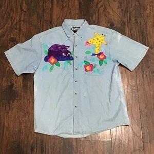 Vintage copa banana denim embroidered animal shirt
